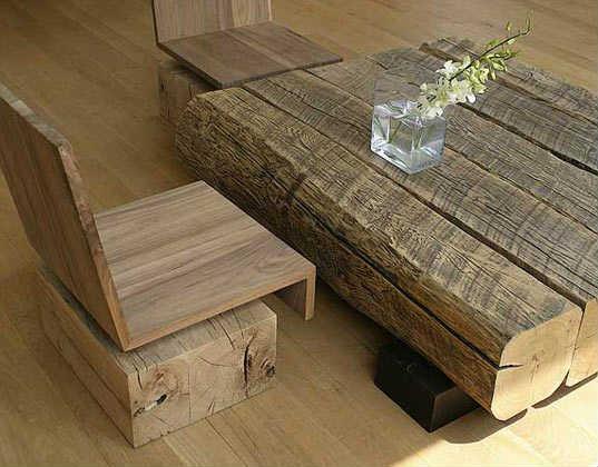 стол и кресло из массивного бруса