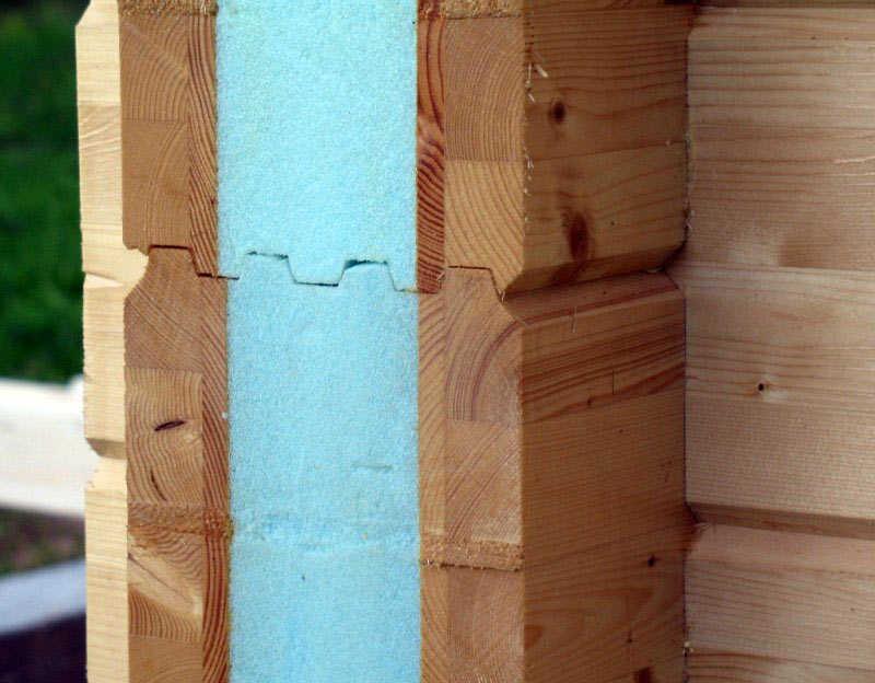 сечение угла дома из утепленного бруса