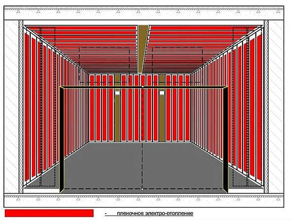 Схема размещения нагревательных элементов в инфракрасной сушилке