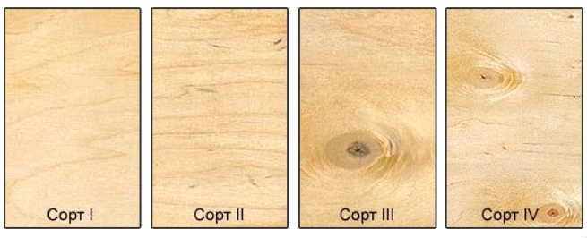 сорта древесины от 1 до 4