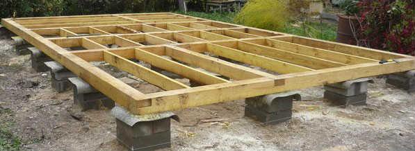 Обвязочный брус по бетонным столбам фундамента