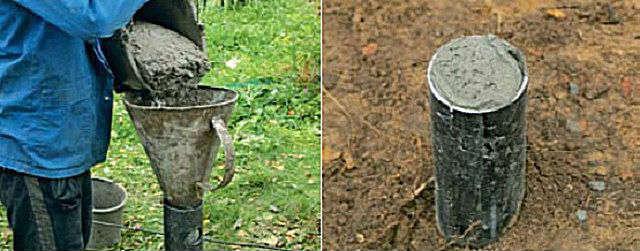 Заполнение бетоном полости сваи