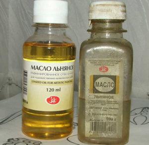 Льняное масло в бутылках