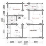 Схема дома размером 8х8м